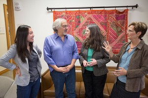 HLS's Immigration and Refugee Counseling Program's Julina Guo, HLS '14, (from left) John Wilshire Carrera, HLS, Nancy Kelly and Deborah Anker, Clinical Director, work together with  inside the HLS  Immigration Clinic at HLS at Harvard University. Kris Snibbe/Harvard Staff Photographer