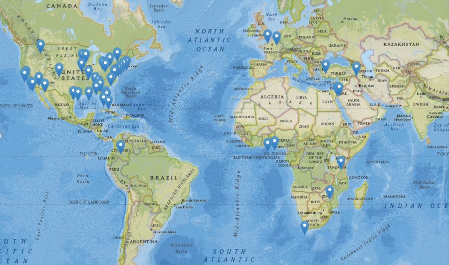 Map showing where HLS students traveled to during 2017 winter term
