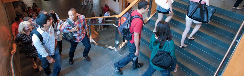 Students walking in the WCC building