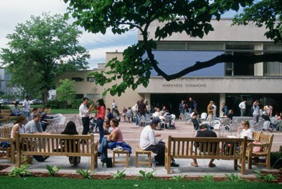 Students on benches at Harkness Commons