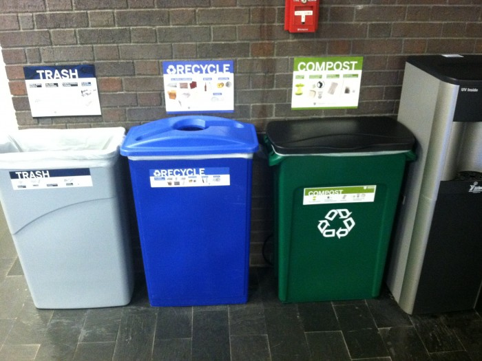 A waste reduction station in Griswold Hall, a certified LEED Platinum building.