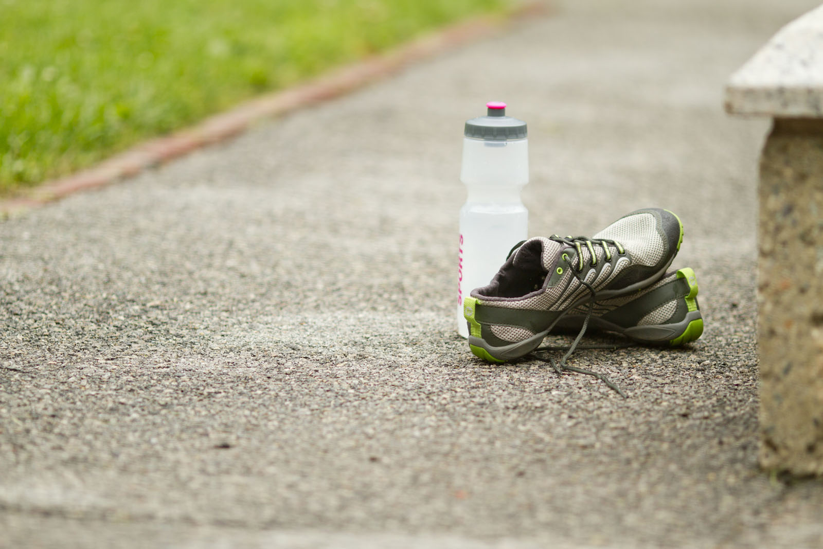 Water bottle and running shoes.