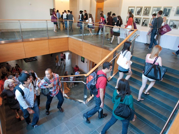 Students walking up staircase
