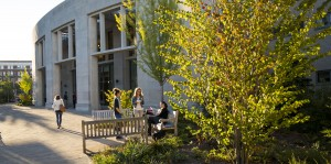 Students conversing outside on benches