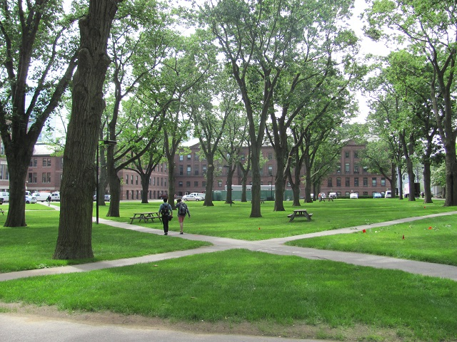 Holmes Field, an outdoor space next to Hauser and Langdell Halls.