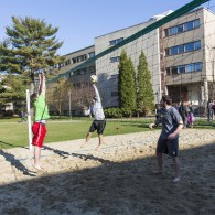 HLS students playing volleyball