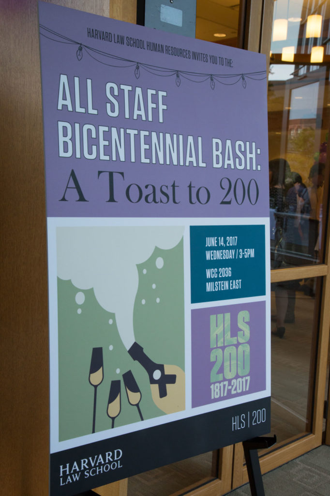 Sign out front of room announcing Bicentennial Bash