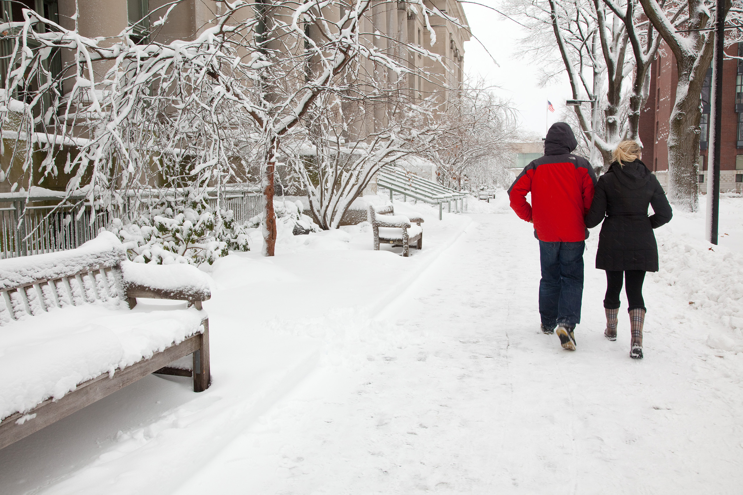 Two students walk through snow on the HLS campus