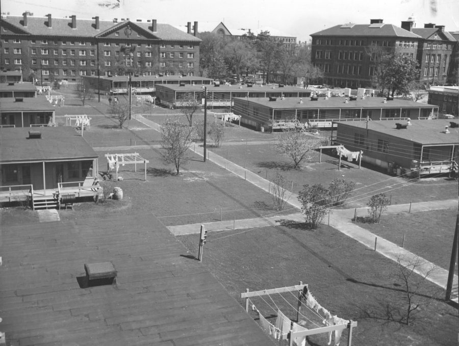 Historical photo of arial view of the HLS campus