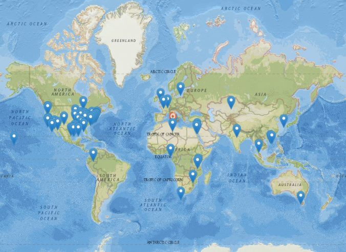 map of where HLS students traveled during winter term