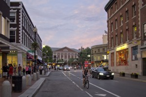 Harvard Square at dusk