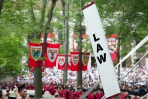 Harvard Law School flags at commencement