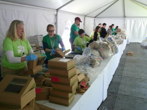 HLS Green Team sorting waste at commencement.
