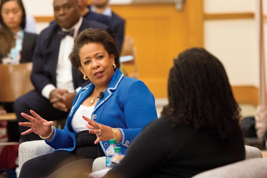Loretta Lynch '84, former U.S. attorney general, in conversation with HLS Professor Annette Gordon-Reed '84