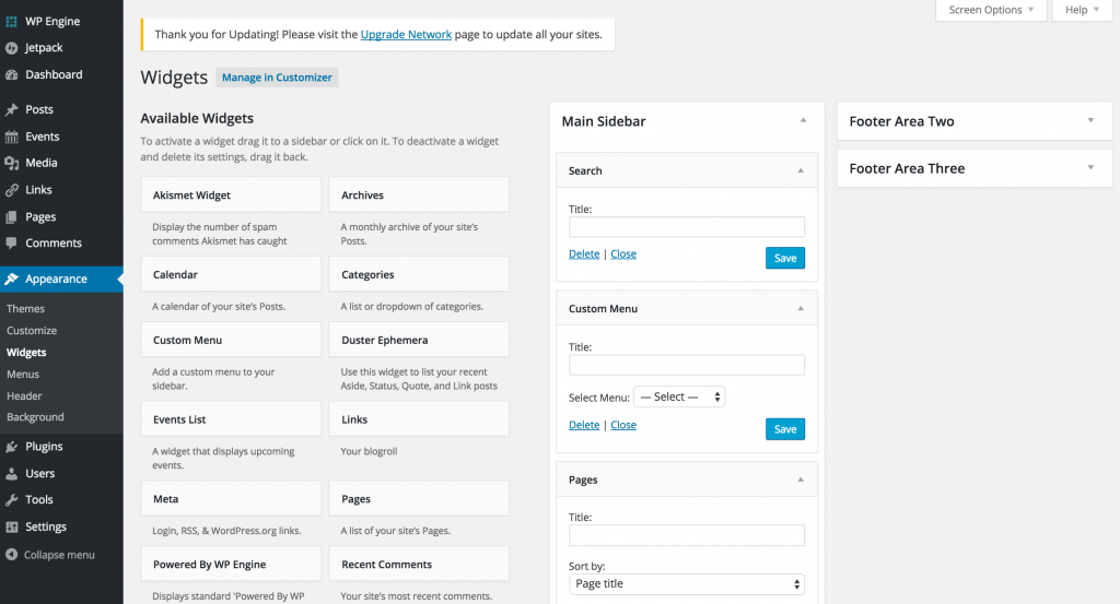 Wordpress widgets screen