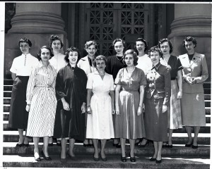 Women graduates of HLS stand on the steps of Langdell Hall