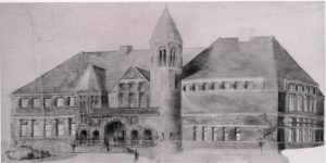 Historical drawing of Austin Hall