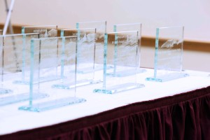 Dean's awards lined up on a table