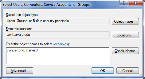 M drive add user accounts dialog box