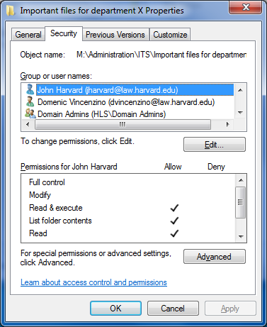 M drive security dialog box with new users
