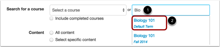 selecting a course to import content from