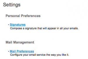 This image shows personal preferences and signitures for clinical email
