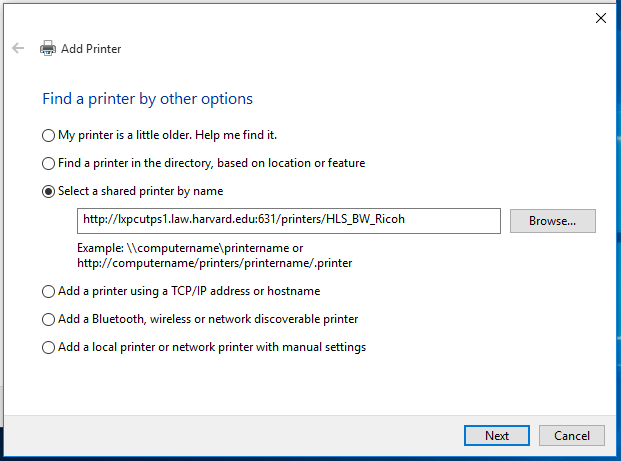 win10 Add printer dialog box 2