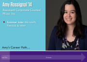 Amy Rossignol's career path through law firm and in-house work.