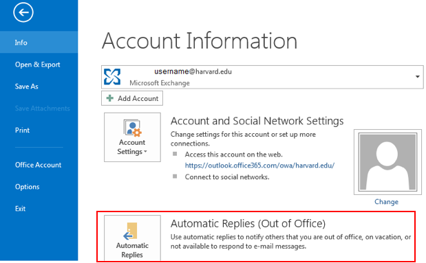 setting an out of office notification in o365 harvard law school