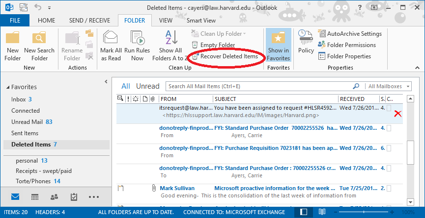 recovering a deleted item in o365 harvard law school