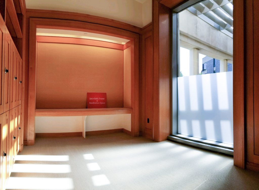 Inside the prayer and meditation room