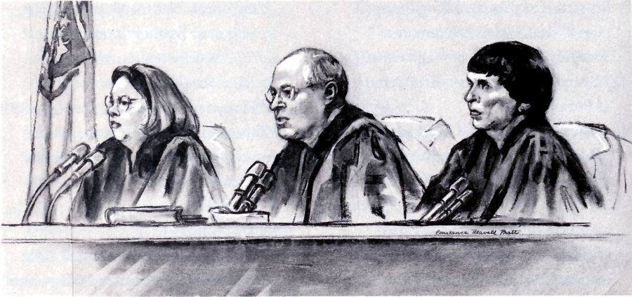 Judge Carolyn Dineen King, Justice Anthony Kennedy, and Judge Mary Schroeder behind the bench