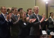 Ames Moot Court participants stand and applaud