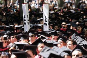 """Law"" signs above graduates' heads"