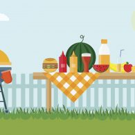 Fruit, barbecue grill, watermelon on the grass, bbq flat illustration. Summer picnic on meadow under sky.