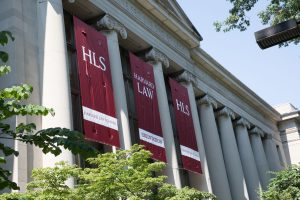 HLS Orientation banners in front of Langdell Hall