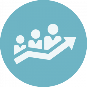 icon with Three people above an upward arrow