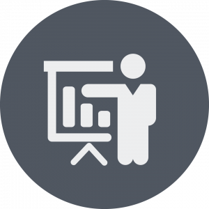 icon with person pointing to a screen with a chart