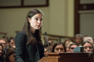 An Ames Moot Court participant speaks at a podium