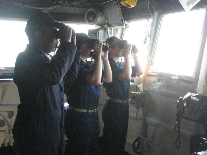 Parra-Orlandoni '15 on watch with the crew of the USS Dubuque
