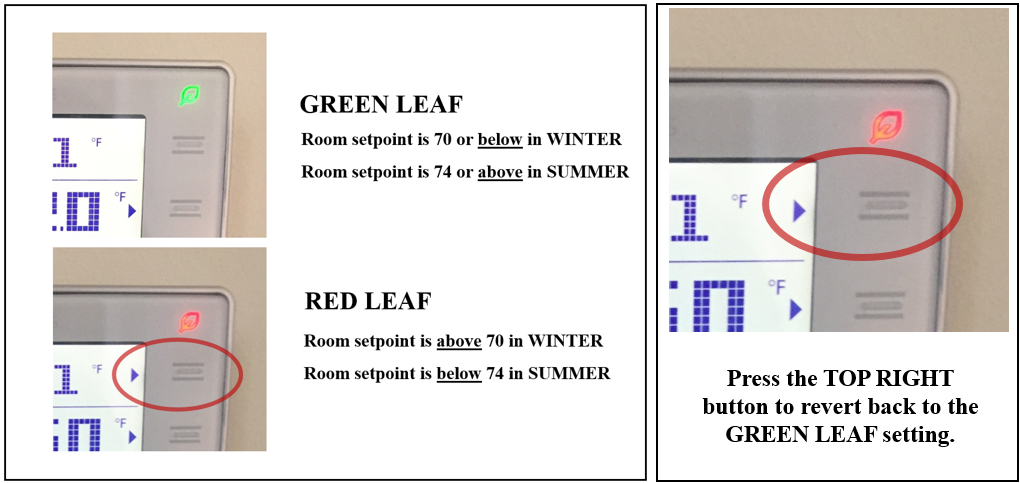 Digital thermostats with instructions for setting automatic green leaf setting.