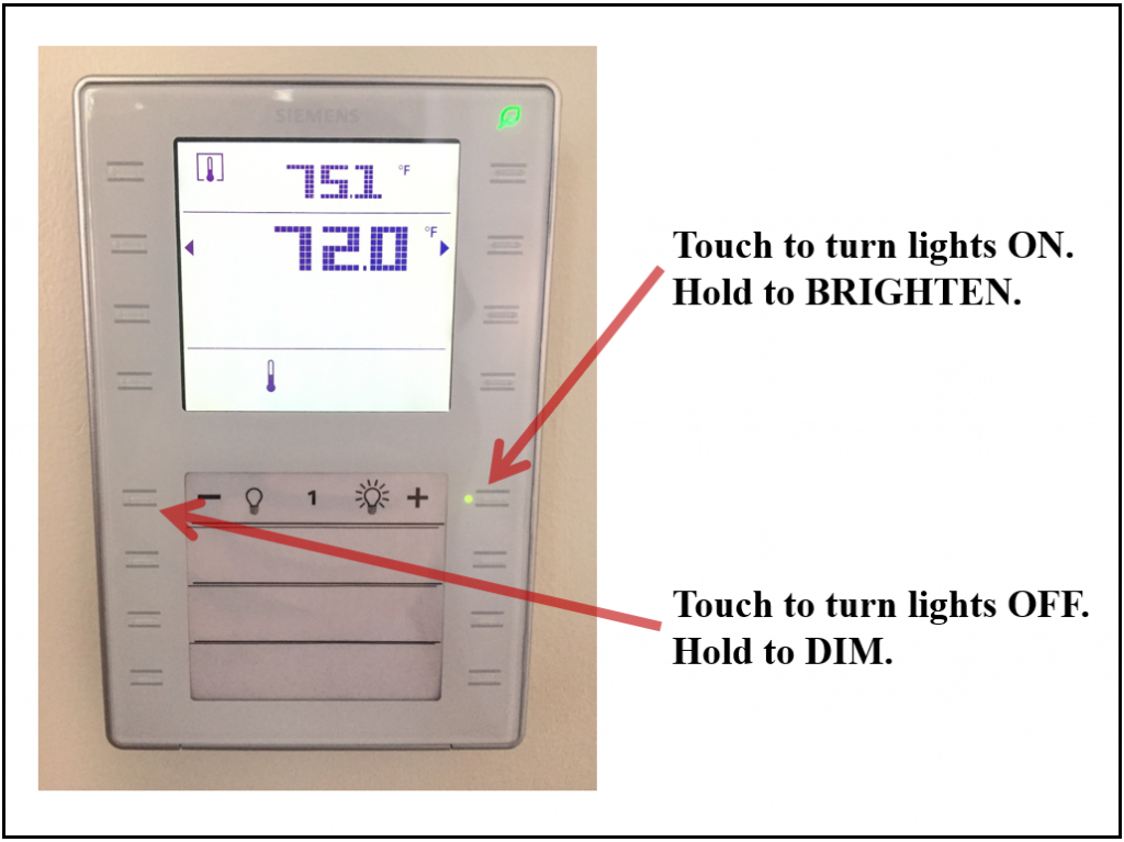 Digital light switch with dimmer settings.