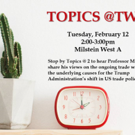 Poster for Topics at Two event with Mark Wu