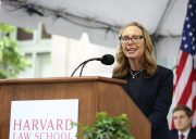 Roberta Kaplan speaks at the podium on Class Day