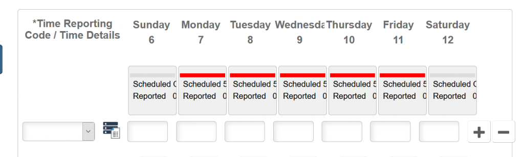 Screenshot of student timesheet in PeopleSoft.