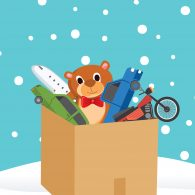 Illustration of box of toys in snow.
