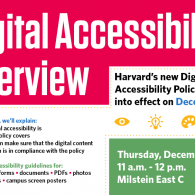 Digital Accessibility Overview on Dec 12 at 11am in Milstein East C.