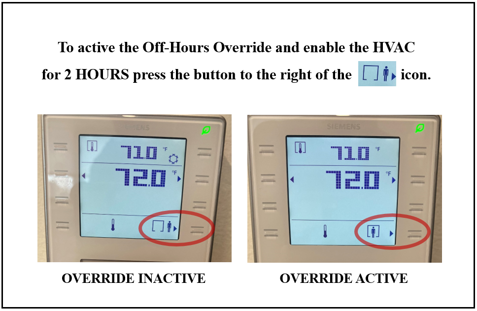 Digital thermostats with instructions for setting off-hours override.