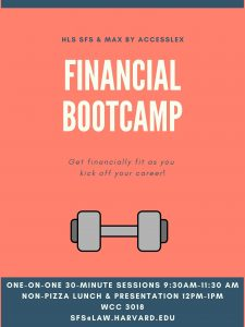 Poster advertising the Financial Bootcamp session