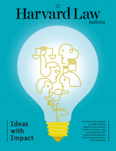 Cover of Harvard Law bulletin featuring an illustration of a light bulb.